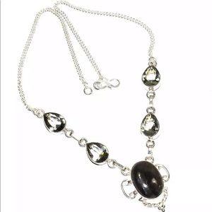 New Labradorite Gemstone 925 Silver Necklace